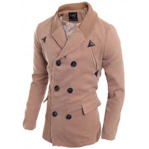 Double Breasted Knitted Collar Spliced Coat - PINKBEIGE M