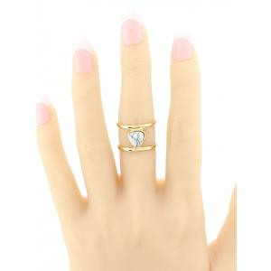 Faux Turquoise Droplet Cage Ring - WHITE