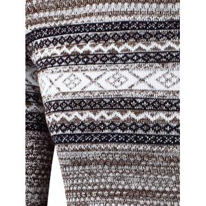 Crew Neck Waviness Splicing Pattern Long Sleeve Sweater - COFFEE 2XL