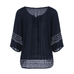Embroidery Loose Peasant Blouse -