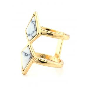 Faux Turquoise Rhombus Cage Ring - WHITE