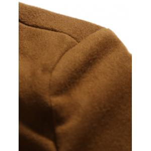 PU Stand Collar Single Breasted Wool Blend Coat - DEEP BROWN 2XL