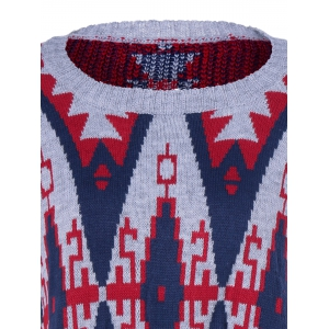 Geometrical Fringed Color Block Pullover Sweater -