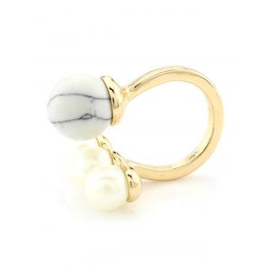 Faux Pearl Beaded Engagement Cuff Ring - WHITE