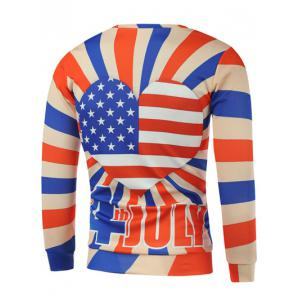 American Flag Heart Letter Print Long Sleeve Sweatshirt -