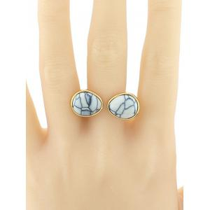 Faux Turquoise Geometric Ring - WHITE