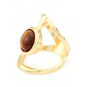 Natural Stone Hollow Cage Ring - TEA-COLORED