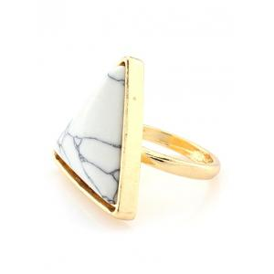 Faux Turquoise Triangle Metal Ring - WHITE