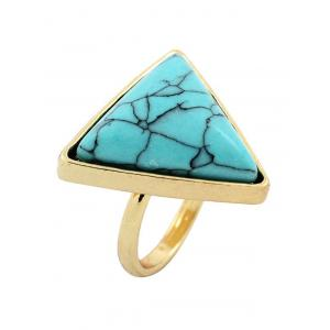 Faux Turquoise Triangle Metal Ring -