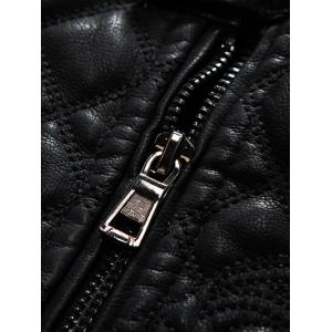 Embroidered Thicken PU-Leather Fleece Zip-Up Jacket -