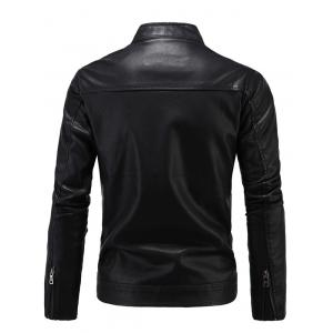 Embroidered Thicken PU-Leather Fleece Zip-Up Jacket - BLACK 4XL