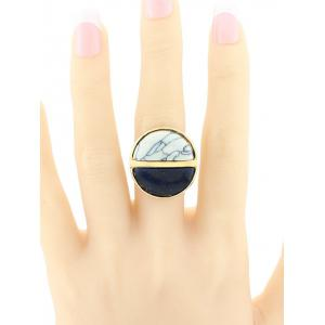Color Block Faux Turquoise Round Ring - BLACK