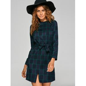 Bowknot Lace Up Gingham Dress -