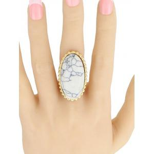 Beaded Edge Faux Turquoise Oval Ring - WHITE