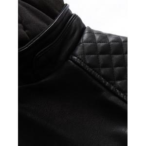 Argyle Spliced PU-Leather Fleece Zip-Up Jacket -