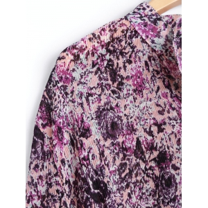 Tiny Floral Belted Plus Size Shirt Dress - VIOLET ONE SIZE