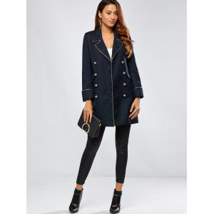 Contrast-Trim Double-Breasted Longline Blazer -