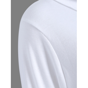Ribbed Button Embellished T-Shirt - WHITE 2XL