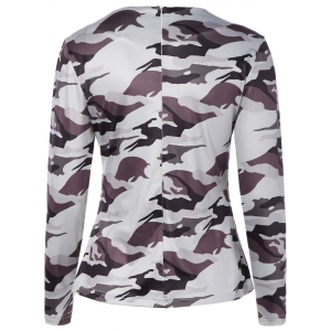 Jewel Neck Cut Out Camouflage T-Shirt -