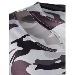 Jewel Neck Cut Out Camouflage T-Shirt - WHITE XL
