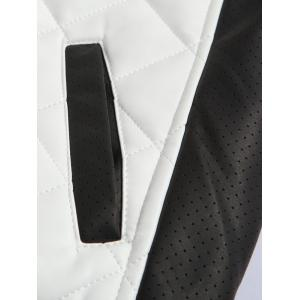 Color Block Splicing Argyle Zip-Up Cotton-Padded PU-Leather Jacket - WHITE 5XL