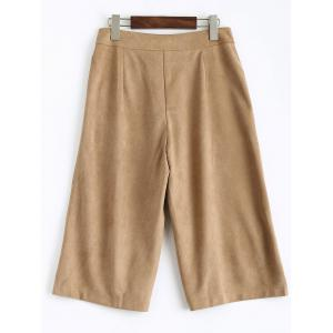 Sueded Cropped Wide Leg Pants - LIGHT CAMEL L