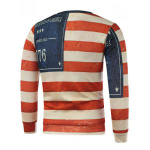 Star Letter Stripe Print Long Sleeve Sweatshirt -
