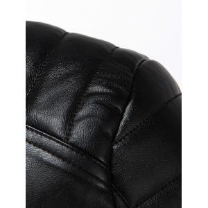 Rib Splicing Zip-Up Applique PU-Leather Jacket -