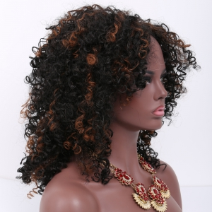 Mixed Color Medium Afro Curly Side Bang Synthetic Wig -