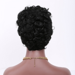 Short Curly Side Bang Fluffy Synthetic Wig -