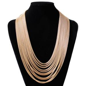 Layered Alloy Chain Necklace - CHAMPAGNE