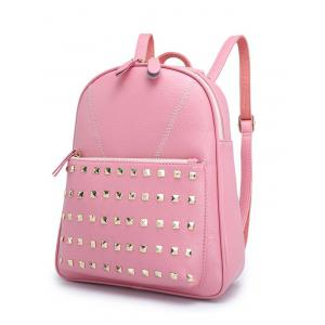 PU Leather Stitching Studded Backpack - BLACK