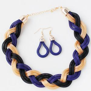 Multi Color Knitted Alloy Necklace Set - BRIGHT BLUE