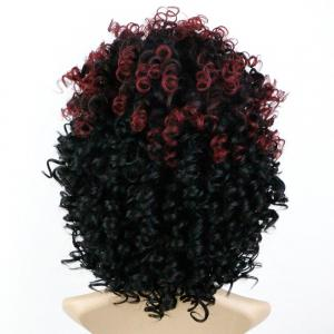 Medium Afro Curly Full Bang Colormix Synthetic Wig -