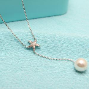 Faux Pearl Starfish Layered Pendant Necklace -