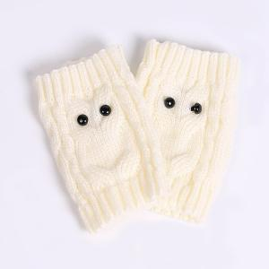 Warm Crochet Owl Knit Boot Cuffs - WHITE