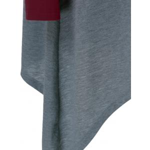Plus Size Asymmetrical Contrast Trim T-Shirt - GRAY AND RED 5XL
