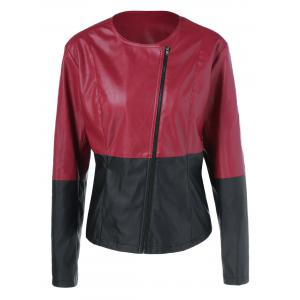 Plus Size Zipper Sleeve PU Biker Jacket -