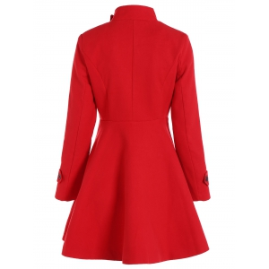 Double Breasted Skirted Coat - RED 2XL
