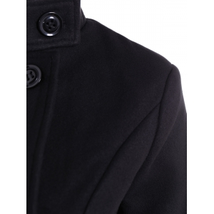 Double Breasted Skirted Coat - BLACK XL