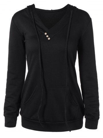 Trendy Buttoned Plus Size Drawstring Hoodie BLACK 2XL