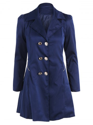 Chic Fit and Flare Coat With Double Breasts CADETBLUE XL