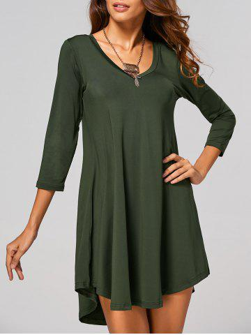 Shops V-Neck Asymmetrical Casual Day Dress Fall ARMY GREEN XL