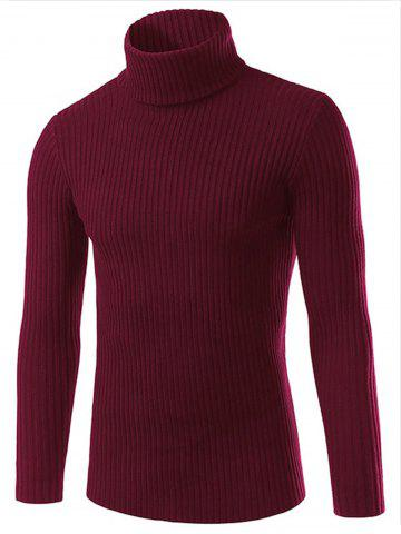 Latest Turtle Neck Slimming Vertical Stripe Long Sleeve Sweater RED 3XL