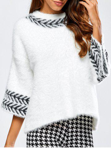 Outfits Jacquard Fuzzy Loose Sweater WHITE ONE SIZE