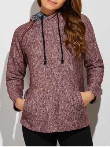 Online Inclined Zipper Front Pocket Hoodie BRICK RED XL