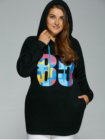 Shops Plus Size Colorful Number Print Drawstring Hoodie