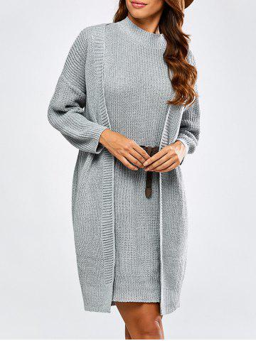 Shops High Neck Belted Sweater Dress and Collarless Cardigan