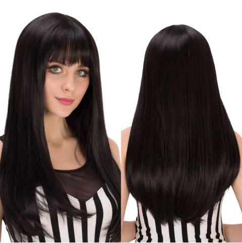 Fancy Long Full Bang Tail Adduction Heat Resistant Fiber Wig BLACK BROWN