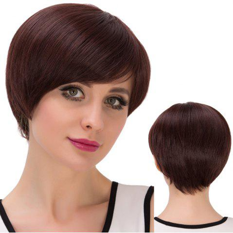 Fashion Ultrashort Oblique Bang Bob Straight Synthetic Wig